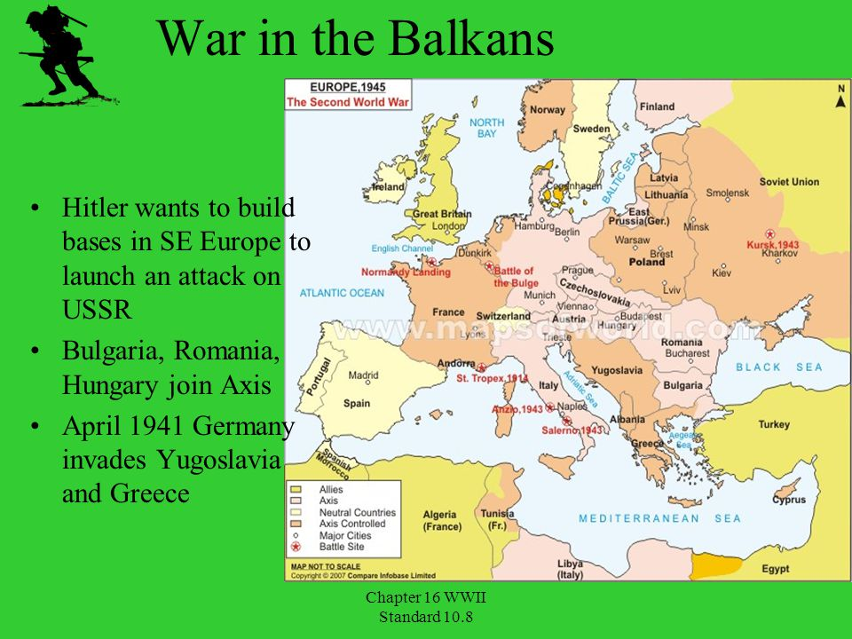 War in the Balkans Hitler wants to build bases in SE Europe to launch an attack on USSR. Bulgaria, Romania, Hungary join Axis.