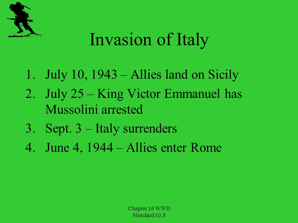 Invasion of Italy July 10, 1943 – Allies land on Sicily