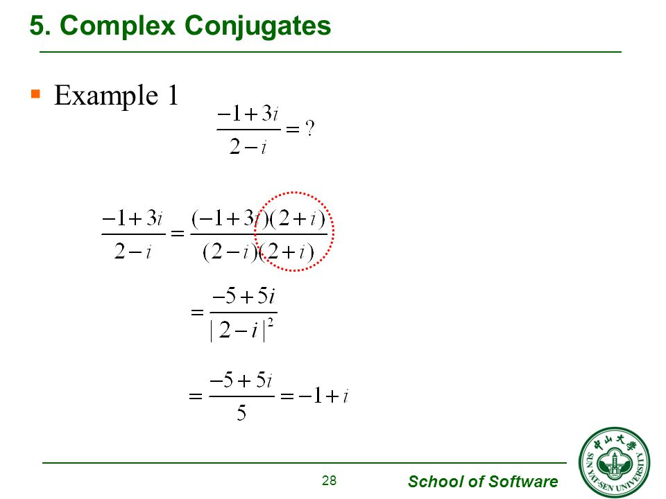 5. Complex Conjugates Example 1