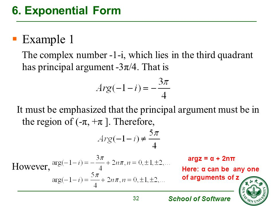 Example 1 6. Exponential Form
