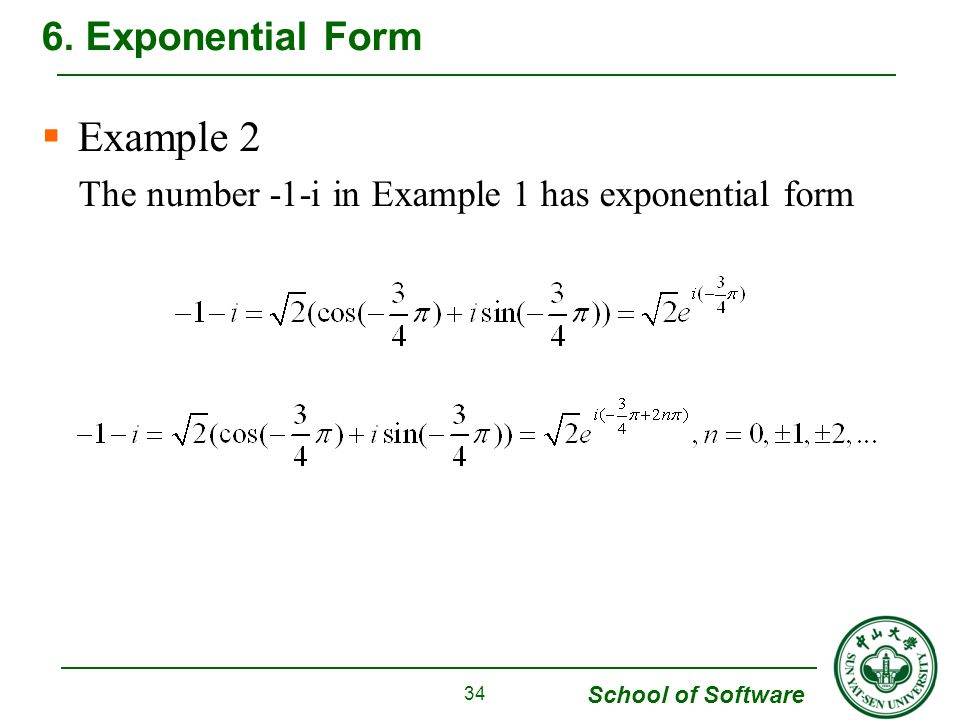Example 2 6. Exponential Form