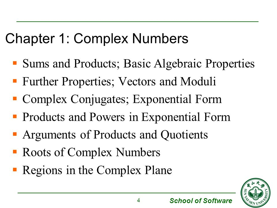 Chapter 1: Complex Numbers