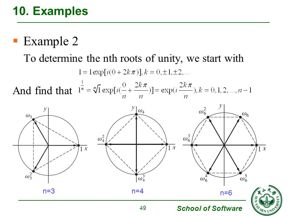 10. Examples Example 2 To determine the nth roots of unity, we start with And find that n=3 n=4 n=6