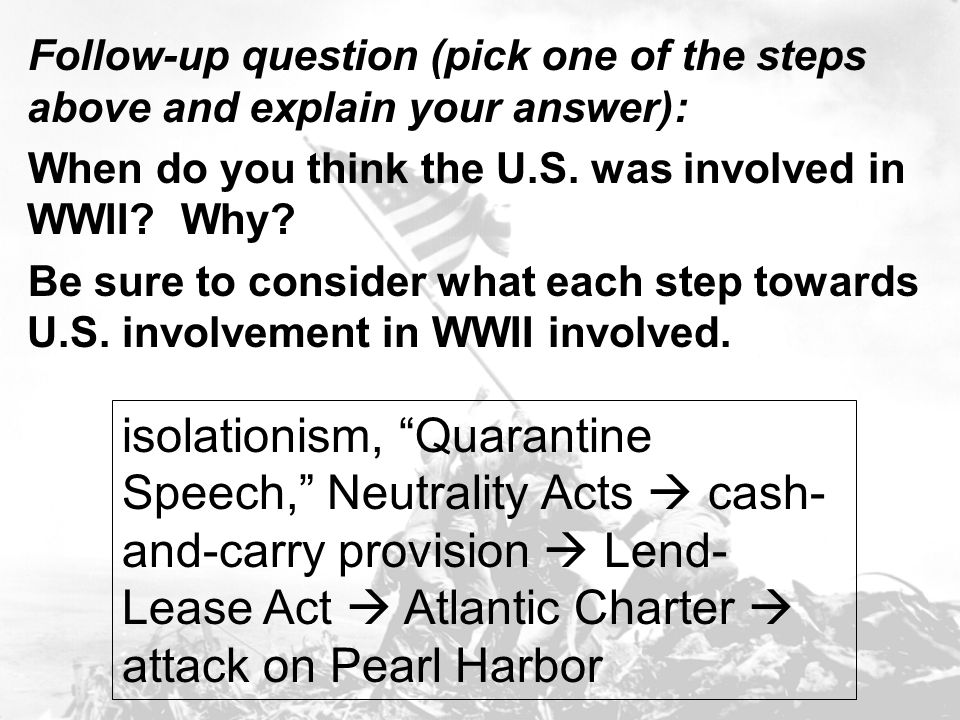 Follow-up question (pick one of the steps above and explain your answer):