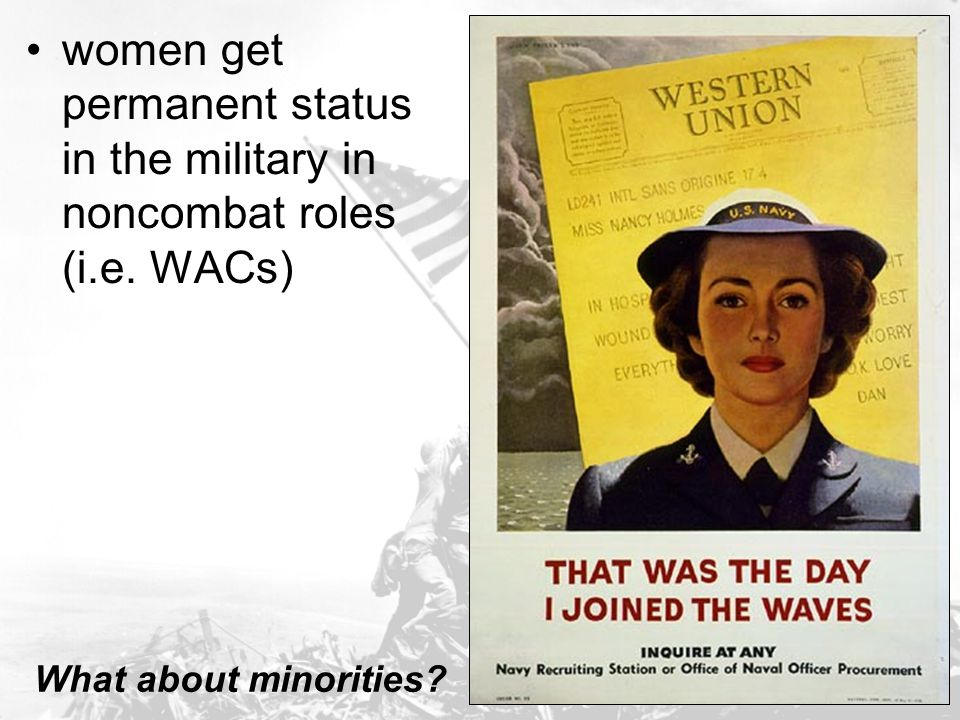 women get permanent status in the military in noncombat roles (i. e