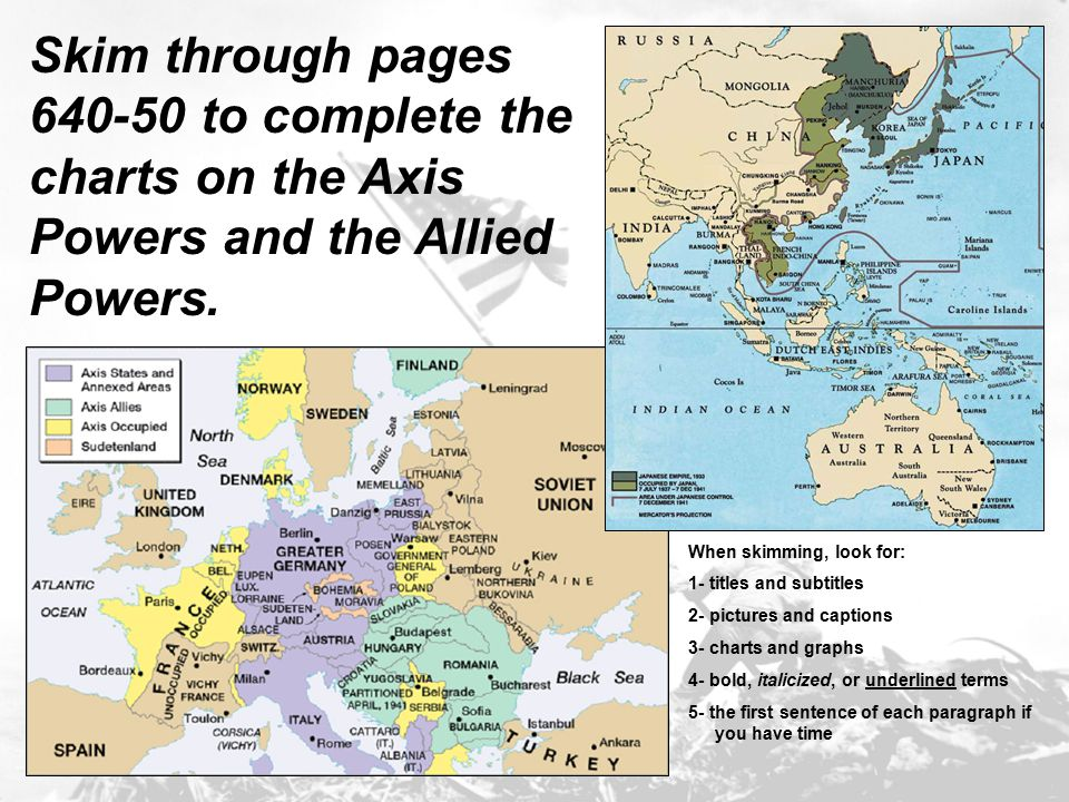 Skim through pages 640-50 to complete the charts on the Axis Powers and the Allied Powers.