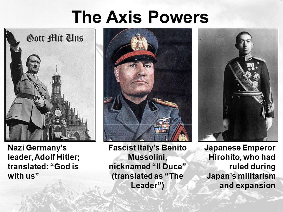 The Axis Powers Nazi Germany's leader, Adolf Hitler; translated: God is with us