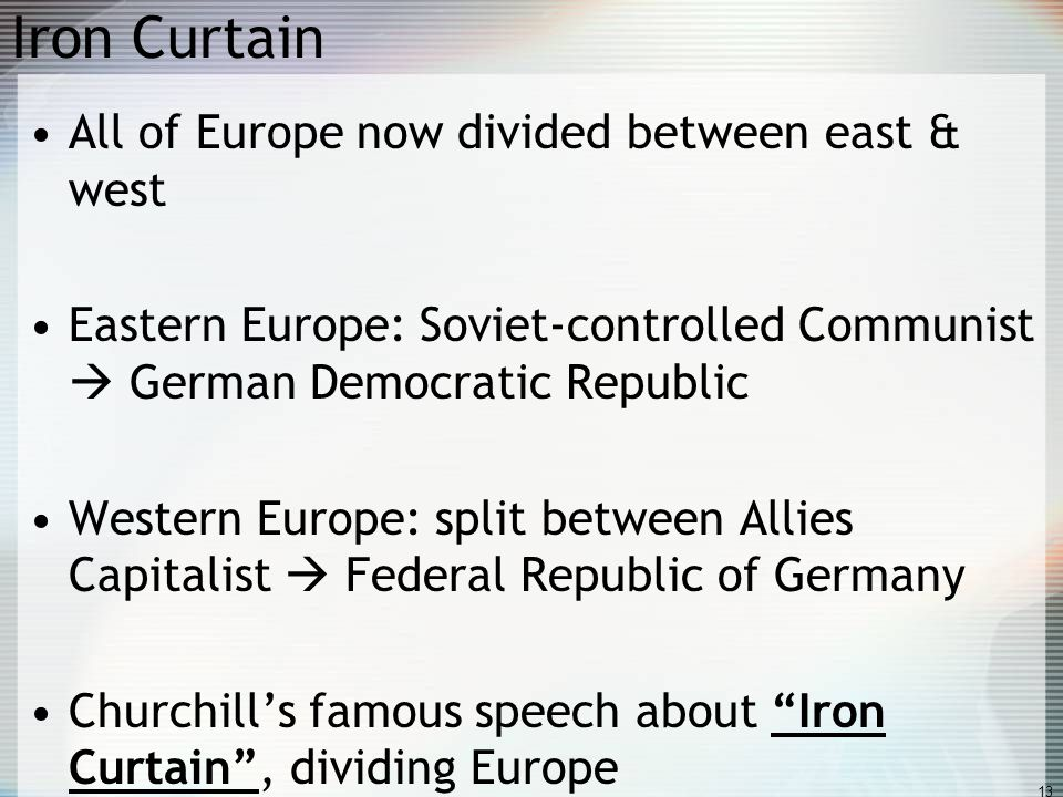 Iron Curtain All of Europe now divided between east & west