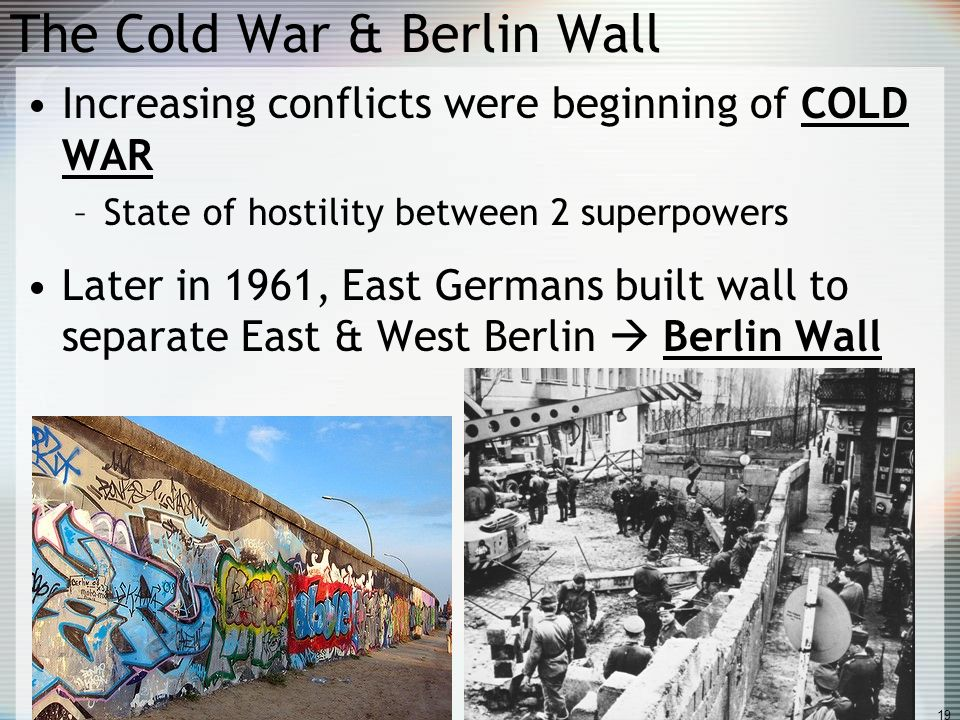 why berlin became the focal point of the cold war Eventually it persuaded stalin to abandon his attempts to force the allies out of west berlin thereby preventing him from claiming the entire city and allowing an odd western enclave surrounded by a communist nation (east germany) it became a major point of pride for the west in the very early stages of the cold war and led directly to the.