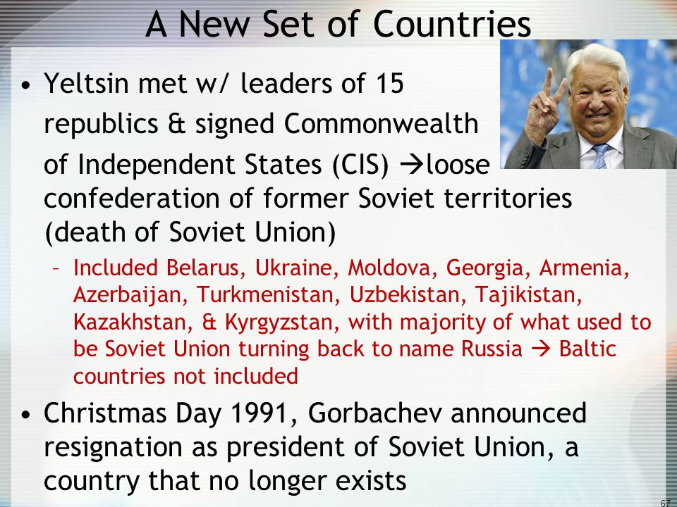 A New Set of Countries Yeltsin met w/ leaders of 15