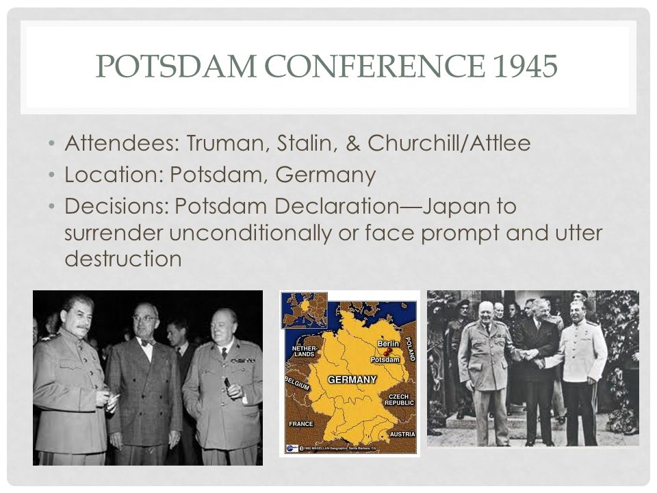 Potsdam Conference 1945 Attendees: Truman, Stalin, & Churchill/Attlee