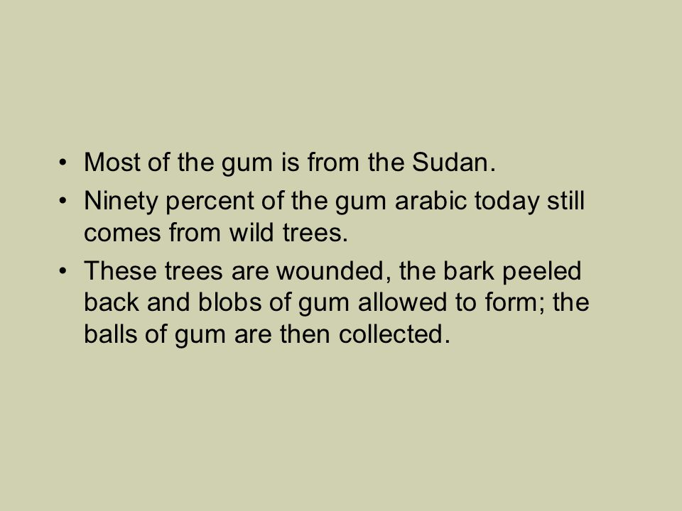 Most of the gum is from the Sudan.