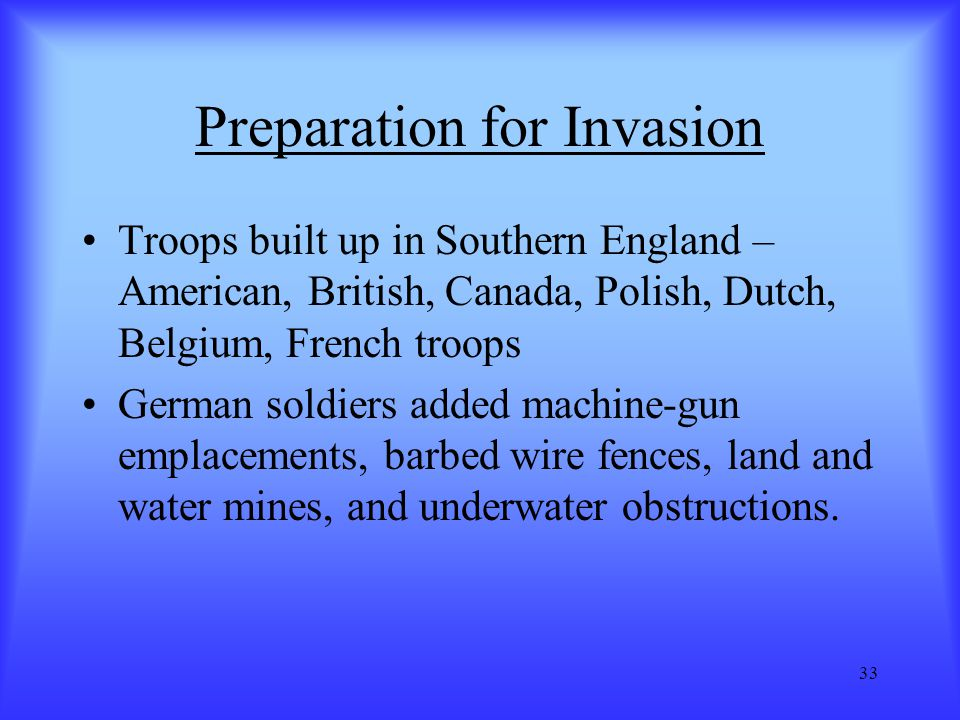 Preparation for Invasion