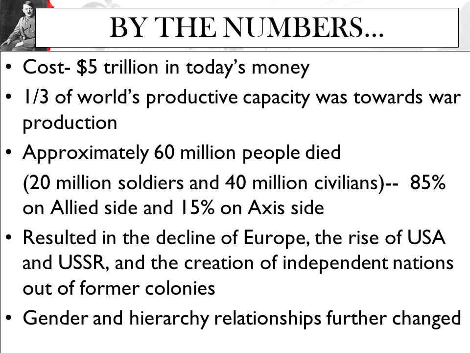 BY THE NUMBERS… Cost- $5 trillion in today's money