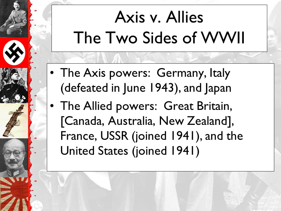 Axis v. Allies The Two Sides of WWII