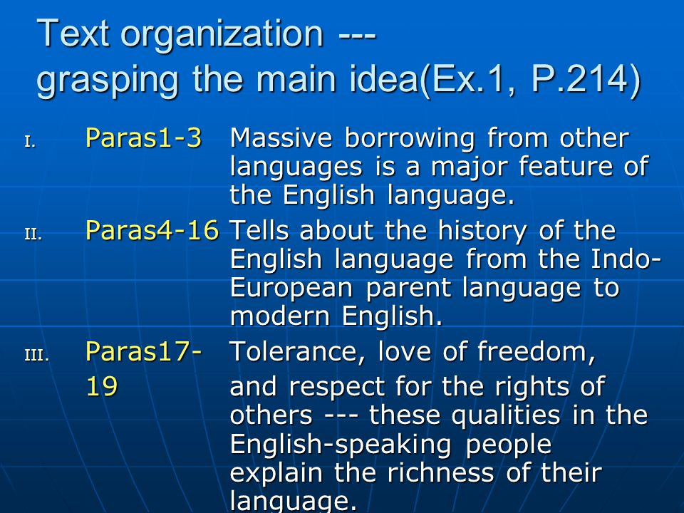 Text organization --- grasping the main idea(Ex.1, P.214)