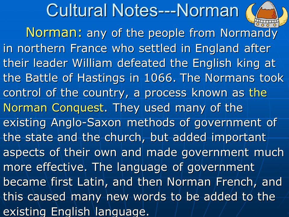 Cultural Notes---Norman
