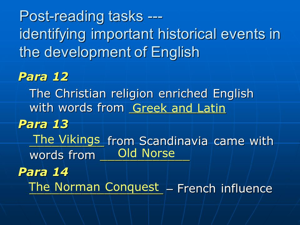 Post-reading tasks --- identifying important historical events in the development of English
