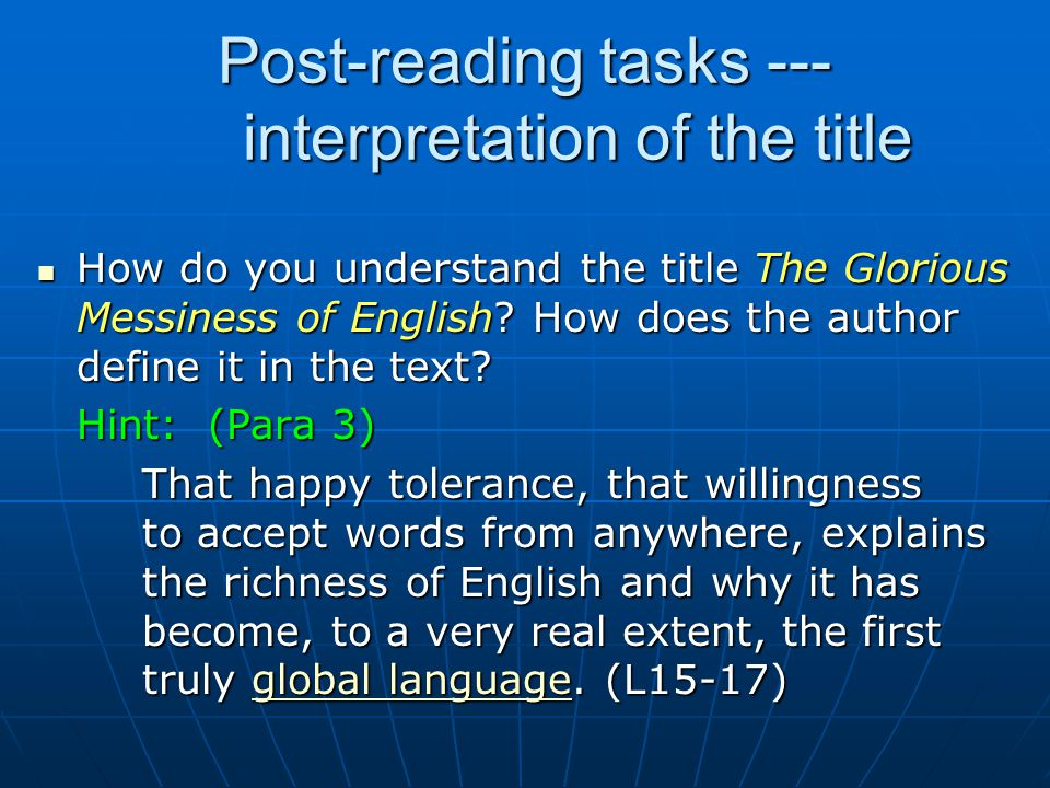 Post-reading tasks --- interpretation of the title