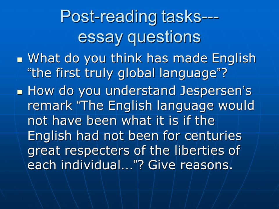 Post-reading tasks--- essay questions