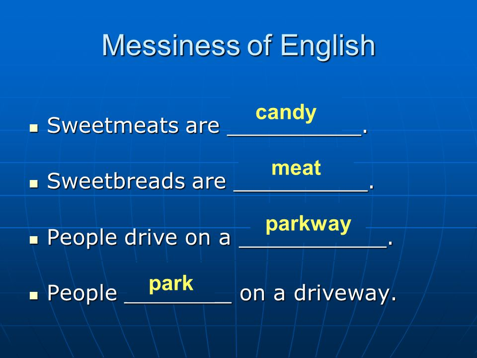 Messiness of English Sweetmeats are __________. candy