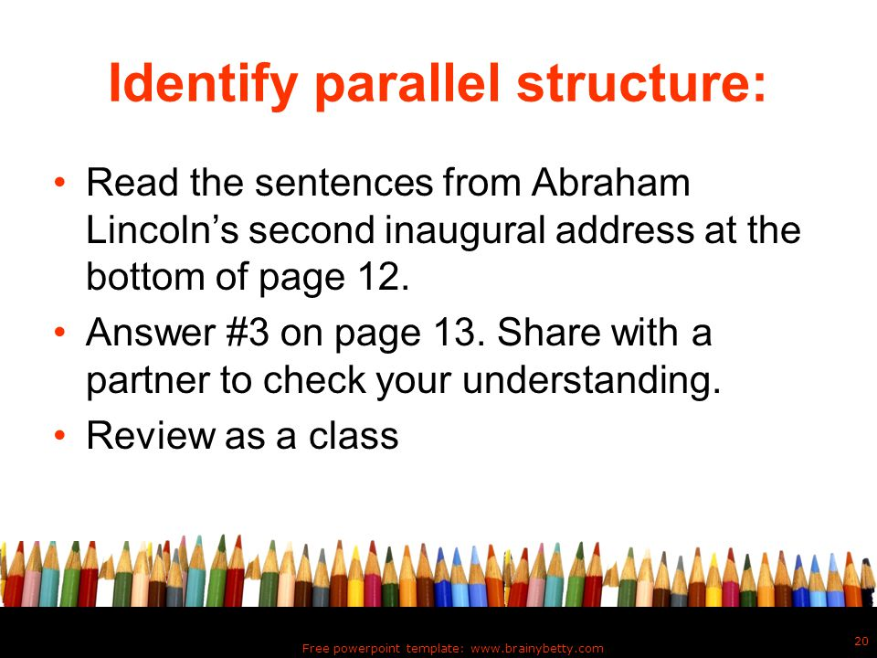 Identify parallel structure: