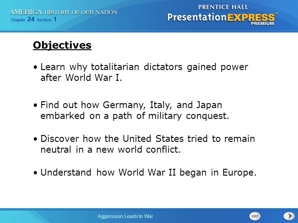 Objectives Learn why totalitarian dictators gained power after World War I.