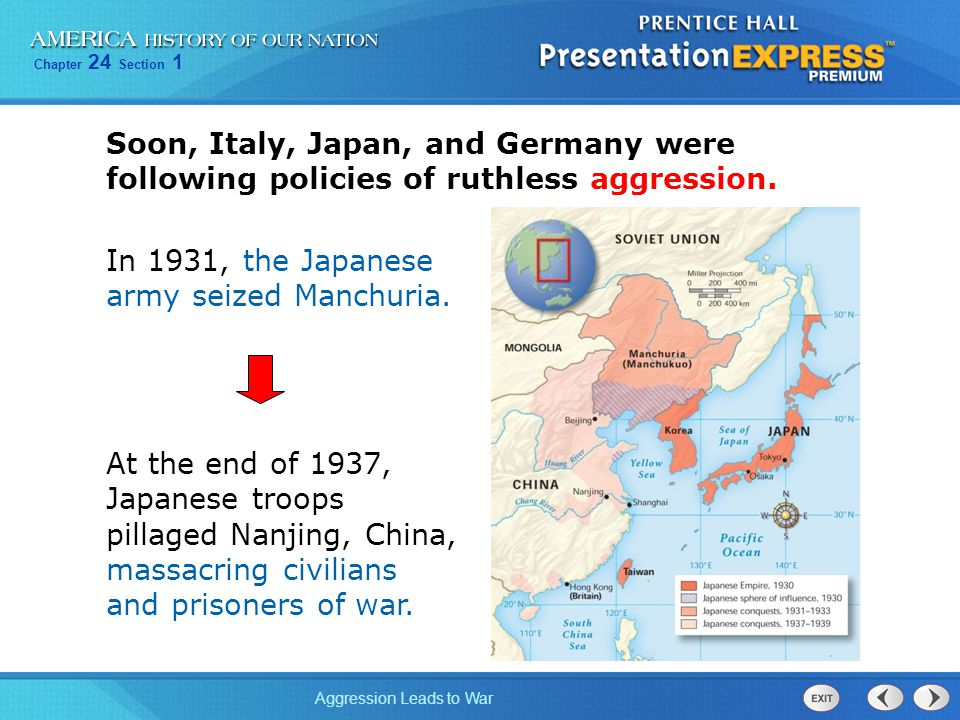 Soon, Italy, Japan, and Germany were following policies of ruthless aggression.