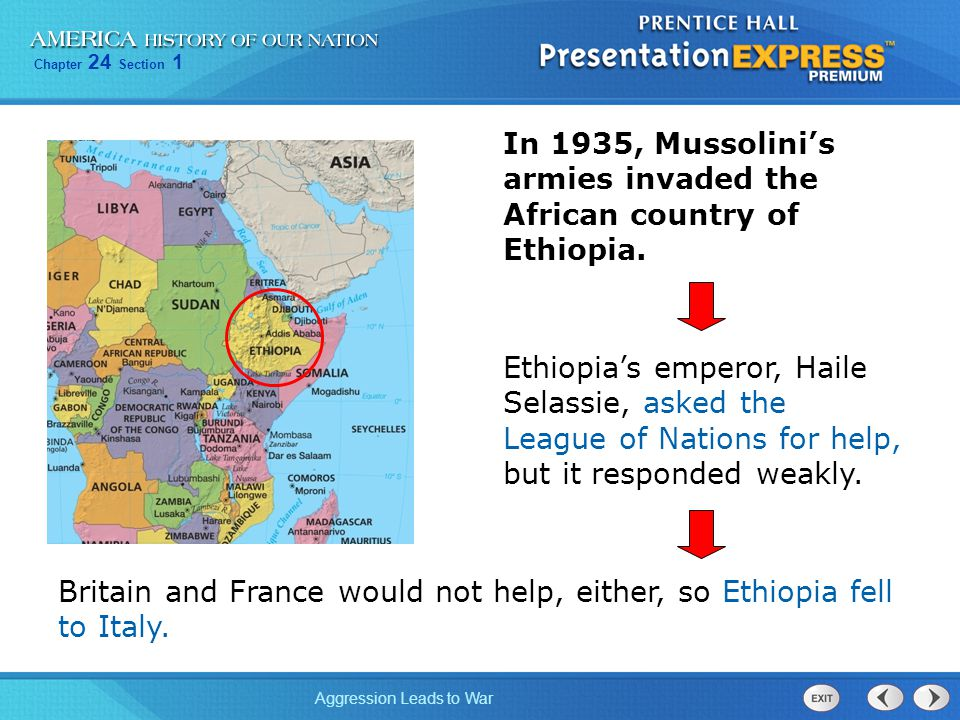 In 1935, Mussolini's armies invaded the African country of Ethiopia.
