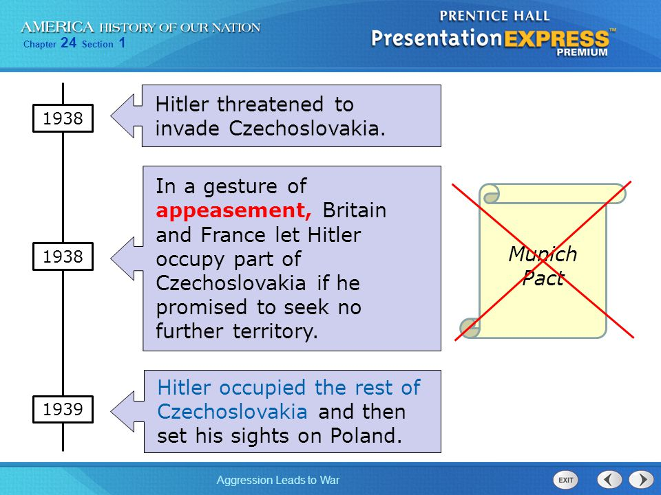 Hitler threatened to invade Czechoslovakia.