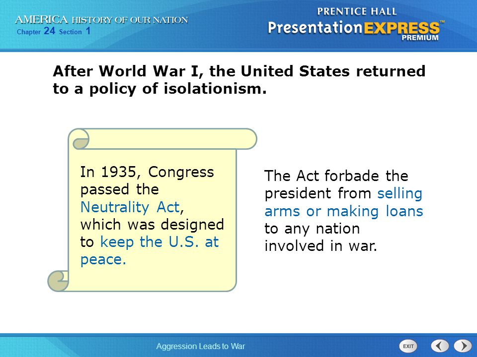 After World War I, the United States returned to a policy of isolationism.