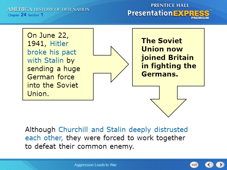 On June 22, 1941, Hitler broke his pact with Stalin by sending a huge German force into the Soviet Union.