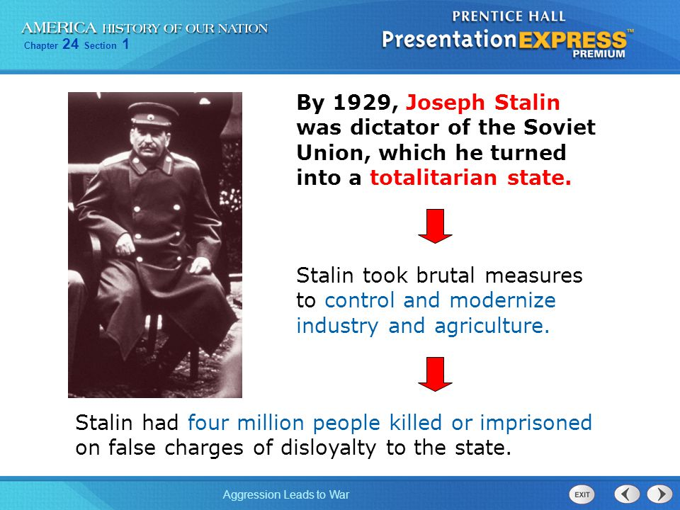 By 1929, Joseph Stalin was dictator of the Soviet Union, which he turned into a totalitarian state.
