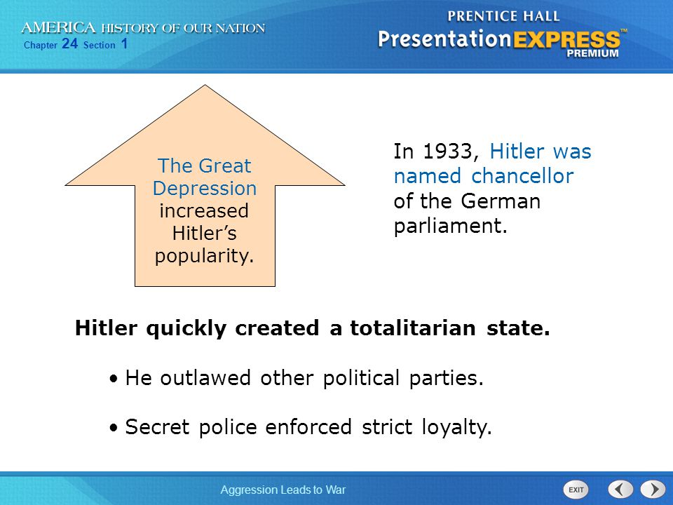 The Great Depression increased Hitler's popularity.