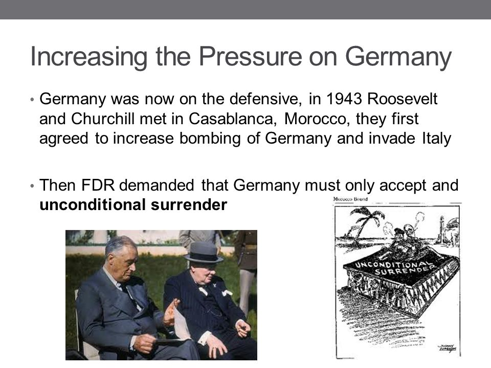 Increasing the Pressure on Germany