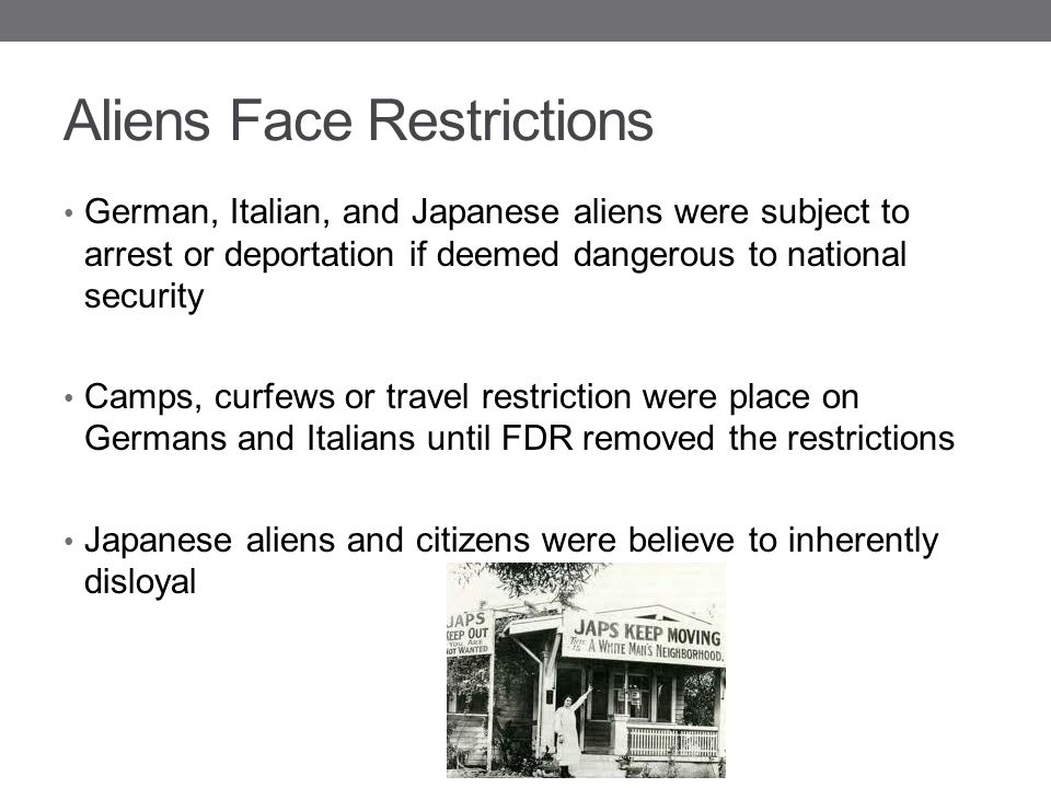 Aliens Face Restrictions