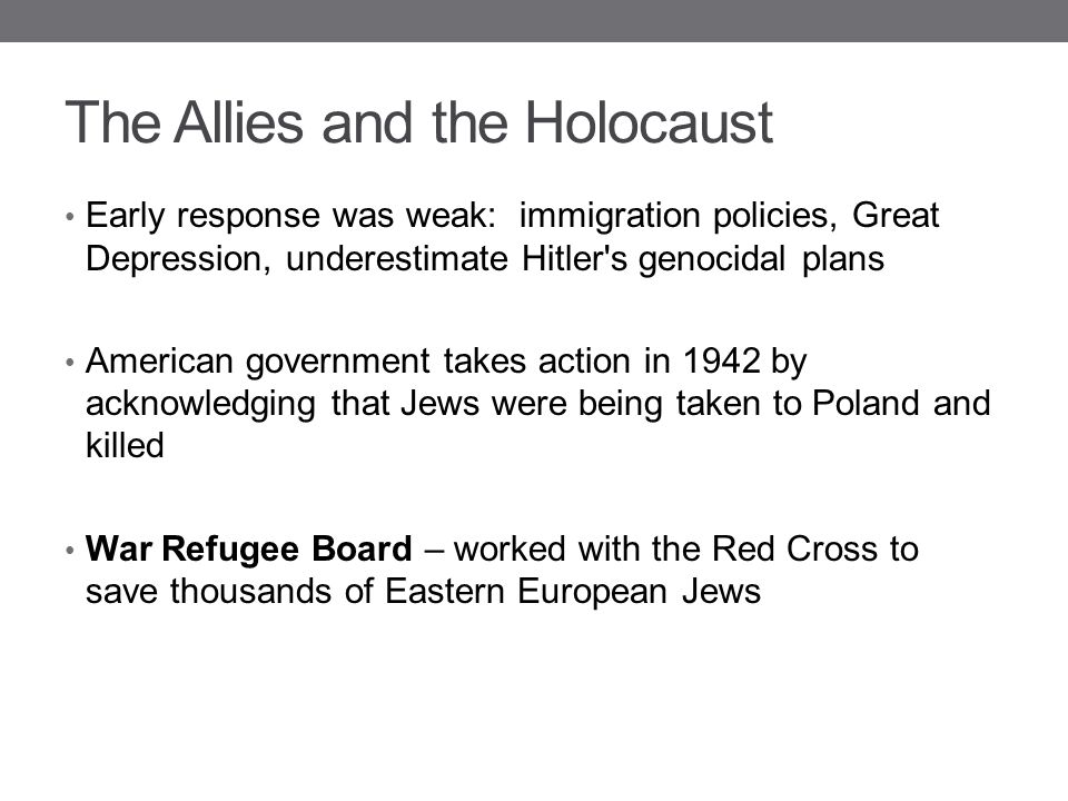 The Allies and the Holocaust