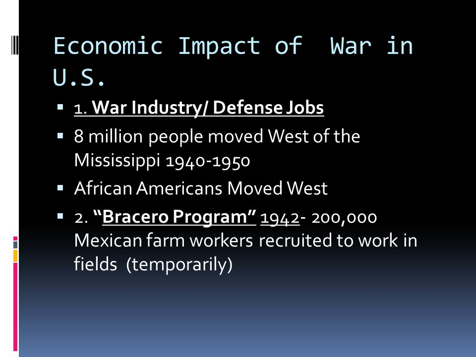 Economic Impact of War in U.S.