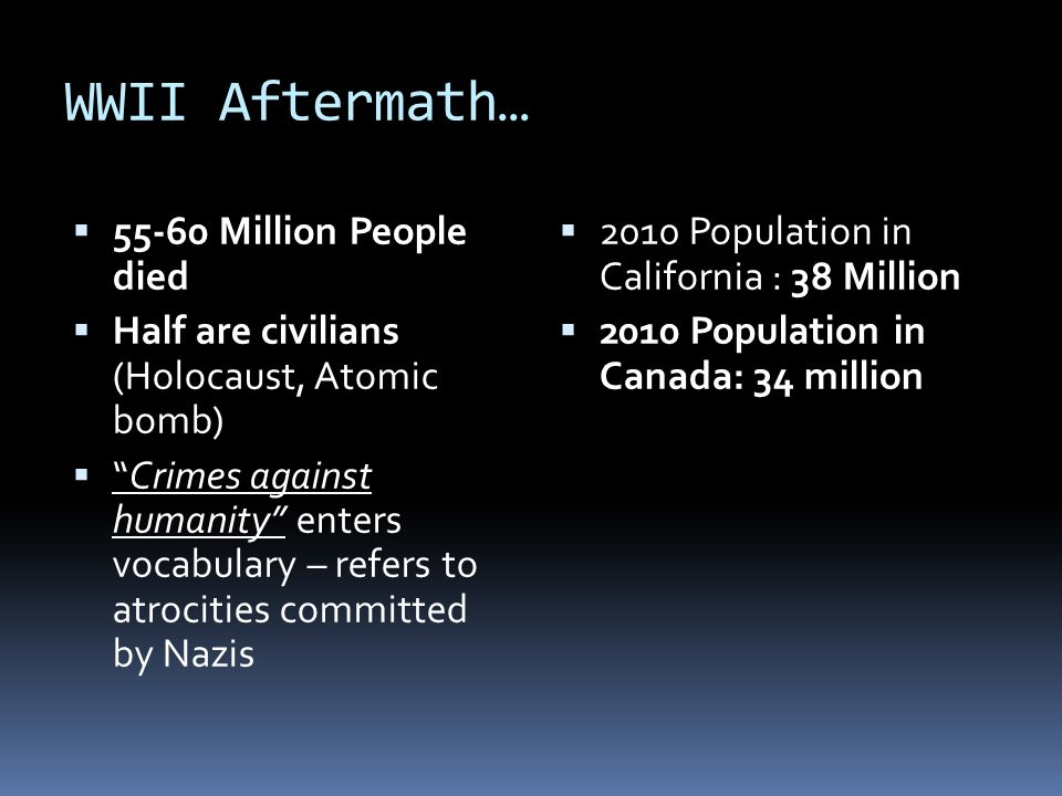 WWII Aftermath… 55-60 Million People died