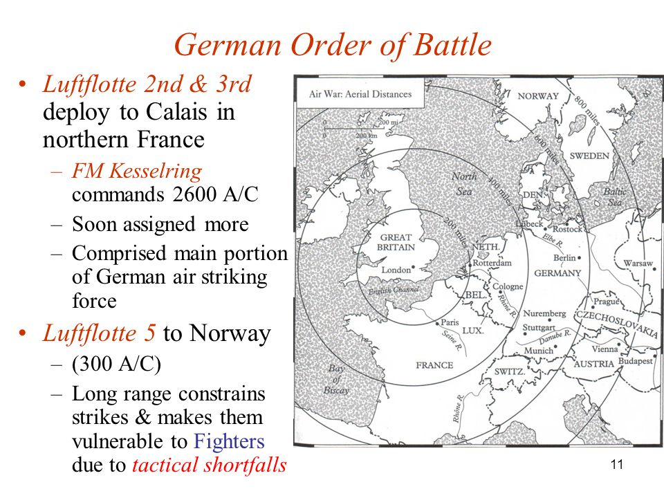 German Order of Battle Luftflotte 2nd & 3rd deploy to Calais in northern France. FM Kesselring commands 2600 A/C.