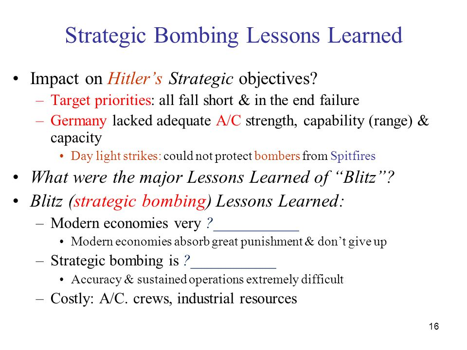 Strategic Bombing Lessons Learned