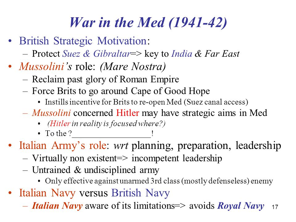 War in the Med (1941-42) British Strategic Motivation: