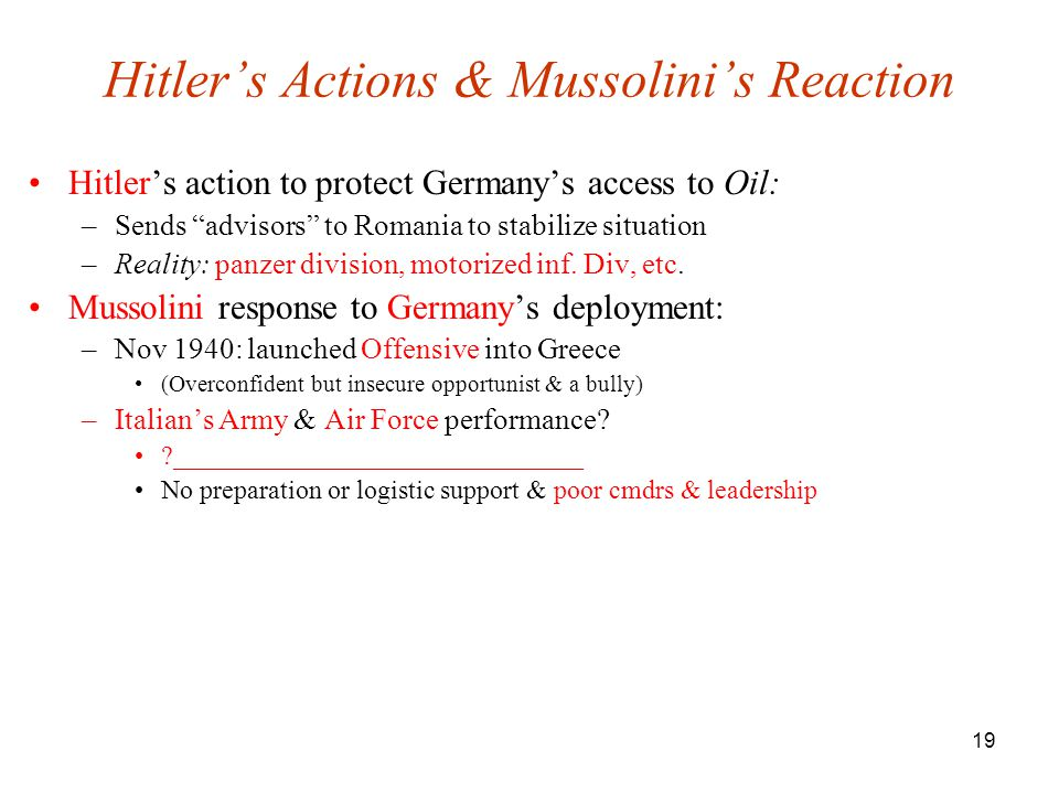 Hitler's Actions & Mussolini's Reaction
