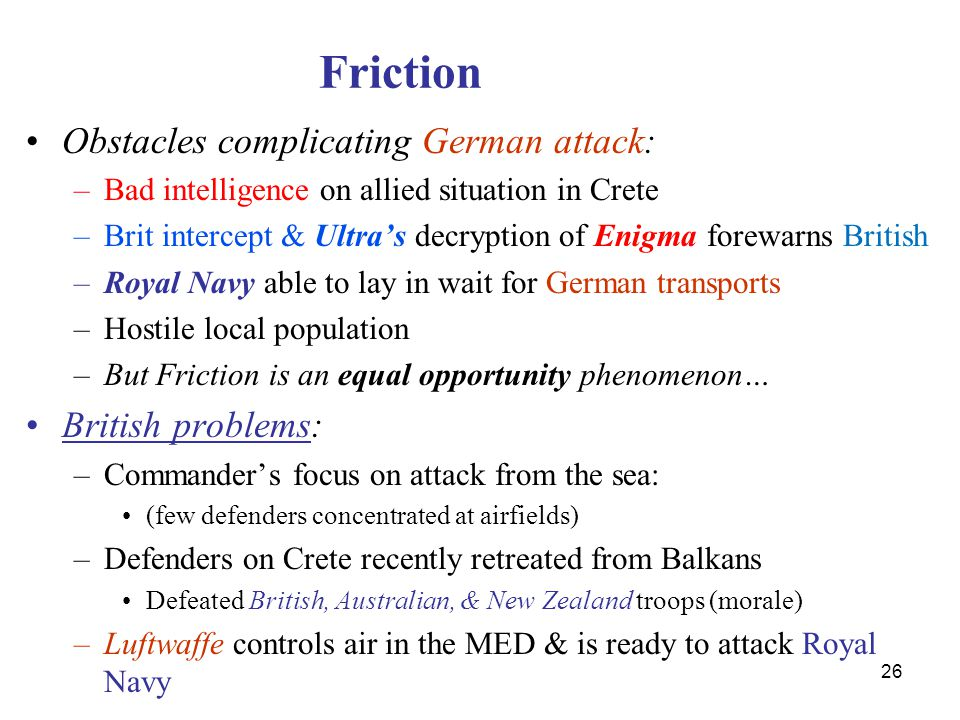 Friction Obstacles complicating German attack: British problems: