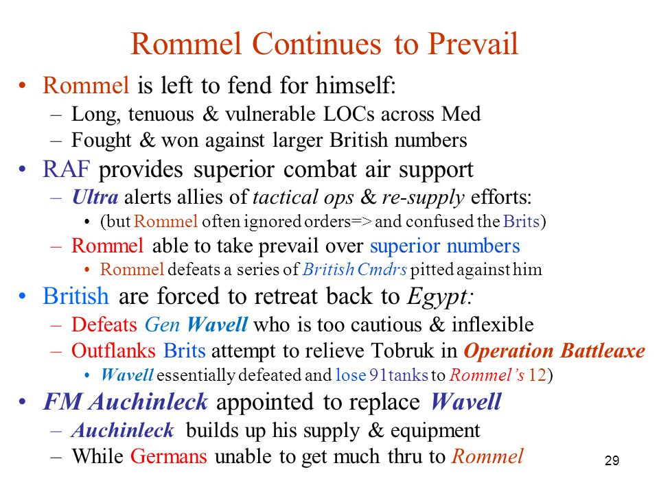Rommel Continues to Prevail