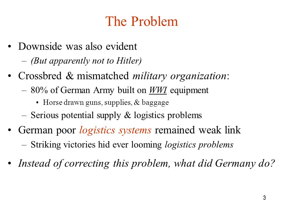 The Problem Downside was also evident