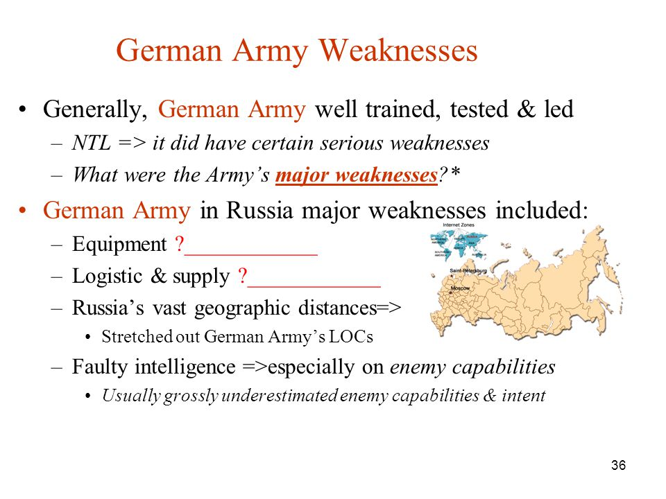 German Army Weaknesses