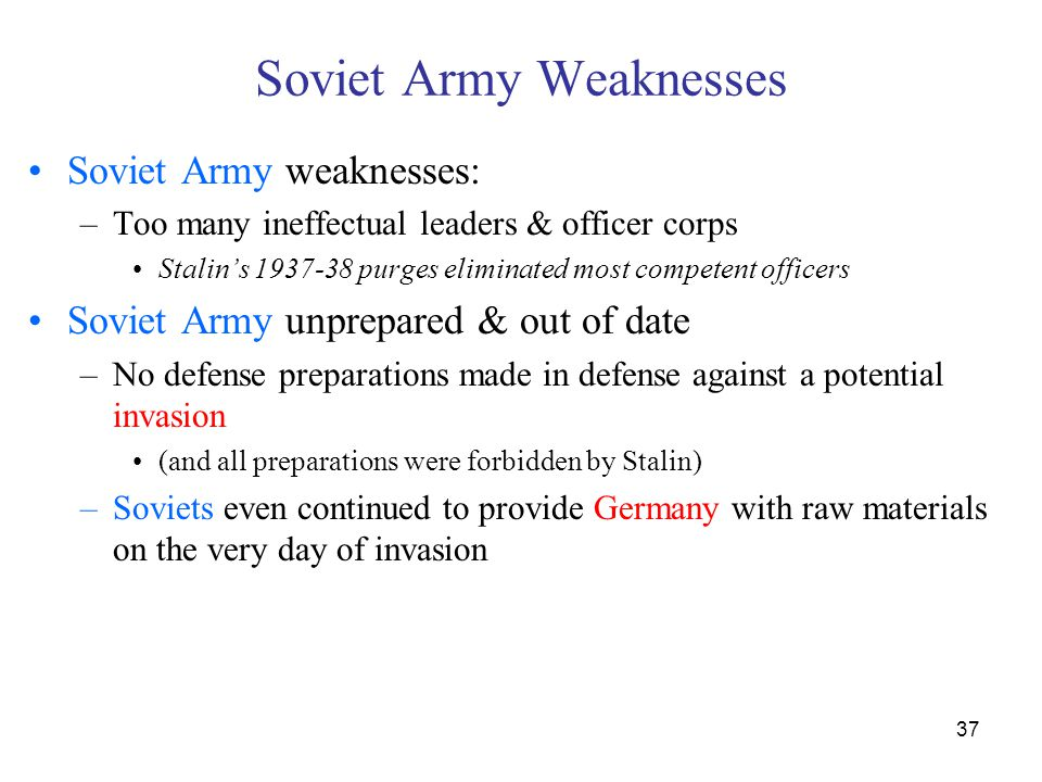 Soviet Army Weaknesses
