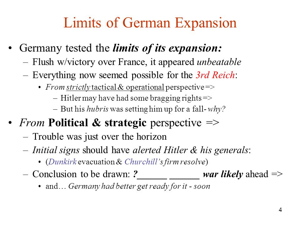 Limits of German Expansion