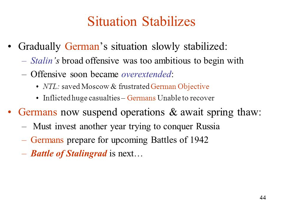 Situation Stabilizes Gradually German's situation slowly stabilized: